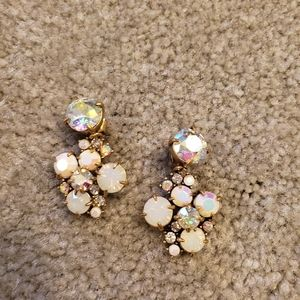 J. Crew iridescent white crystal cluster earings.